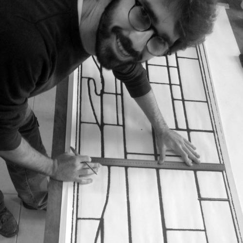 Olivier Marguet, 2018. Résidence artistique pour la création d'un vitrail contemporain.
